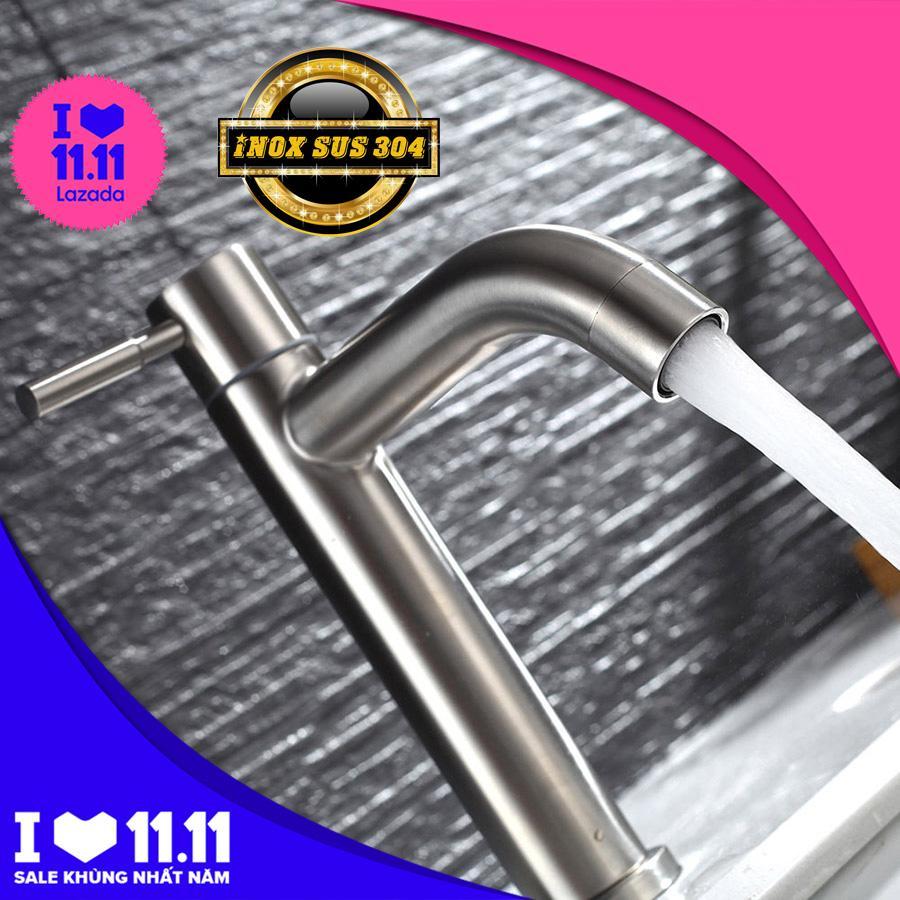 Vòi lavabo lạnh Inox SUS 304 Eurolife EL-T018 ( Trắng vàng )