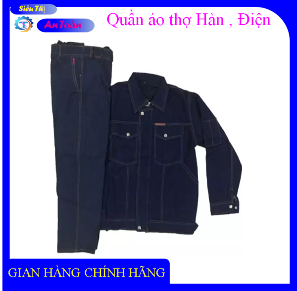 Bộ quần áo bò Jean thợ điện, thợ hàn, chống điện chống nóng - Bảo hộ lao động