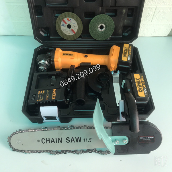 Máy mài pin Dewalt 118v, 2 PIN 10 Cell, không chổi than, KÈM 1 đá cắt, đá mài, bộ lưỡi cưa gỗ