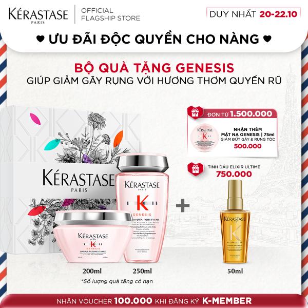 Bộ dầu gội và mặt nạ dưỡng tóc ngừa gãy rụng Kérastase Genesis (250 & 200ml) + hộp quà tặng giá rẻ