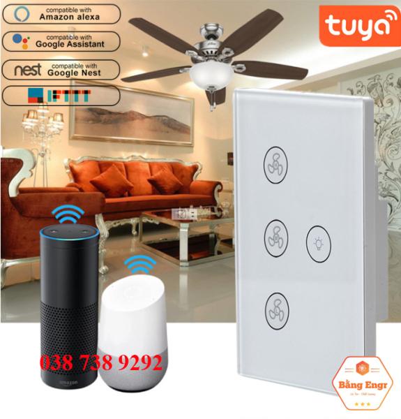 Công tắc quạt + đèn thông minh wifi điều khiển từ xa phím cảm ứng âm tường, hỗ trợ điều khiển giọng nói