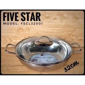 [SIÊU XỊN] Chảo lẩu inox FiveStar bếp từ 3 đáy 32cm nắp kính INOX 430 CỰC BỀN