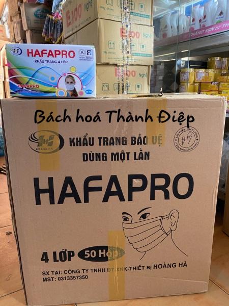Nguyên thùng Khẩu Trang Y Tế 4 Lớp Hafapro có mix màu  (  1 thùng 50 Hộp/1 hộp 50 Cái)