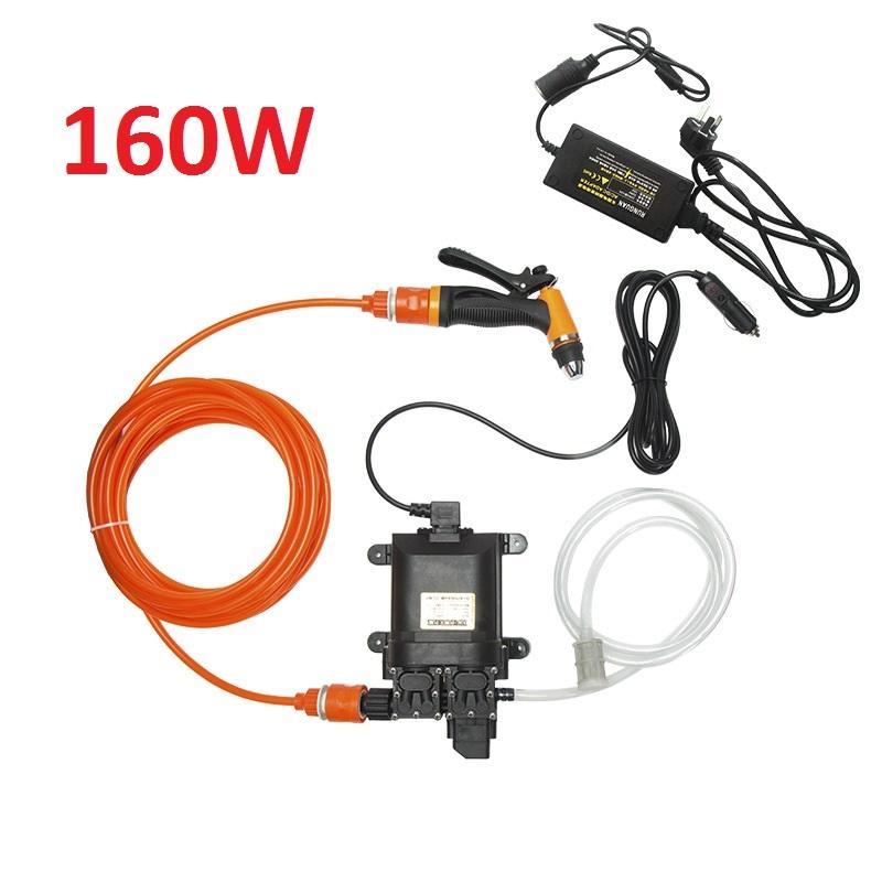 Máy bơm rửa xe tăng áp mini 12V (Tặng Adapter chuyển 220v-12v) công suất 80W