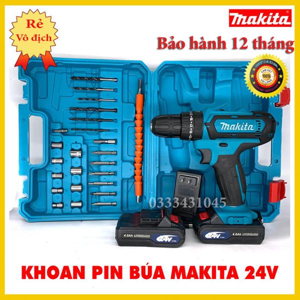 Máy khoan pin makita 24v 3 chức năng có búa , tặng đầy đủ phụ kiện như hình