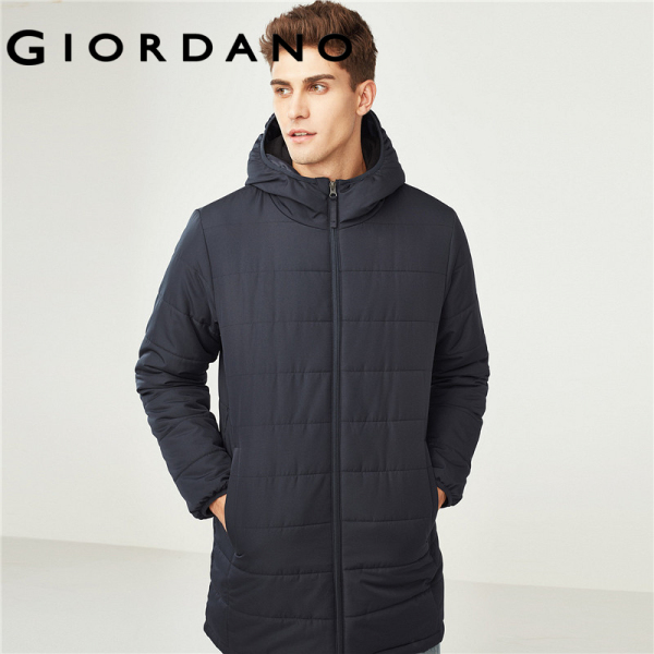 Giordano Men Solid mid-long hooded quilted coat Free Shipping 01078670