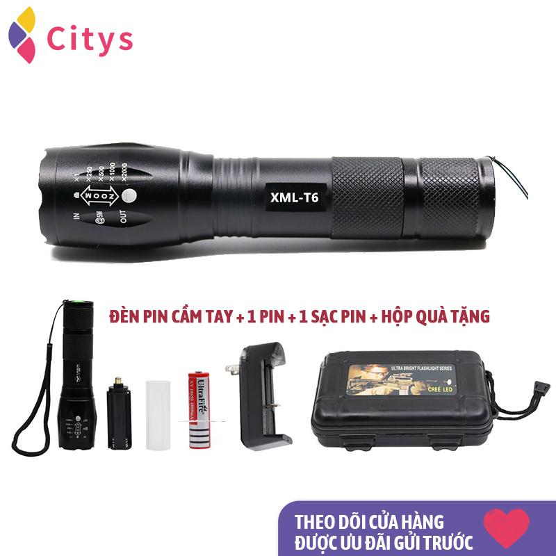 Đèn pin mạnh, Chip đèn LED T6 sạc pin chiếu sáng ngoài trời, vật liệu hợp kim cường độ cao, có thể thu vào và điều chỉnh tiêu cự, nhiều bánh răng có thể được chiếu sáng, có thể mang theo được sử dụng như một cái