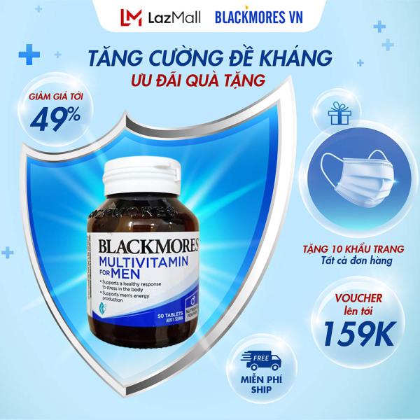 Blackmores Multivitamin for Men 50 Tablets Exclusive - Vitamin tổng hợp dành cho nam giới, tăng cường sức đề kháng toàn diện Blackmore Úc