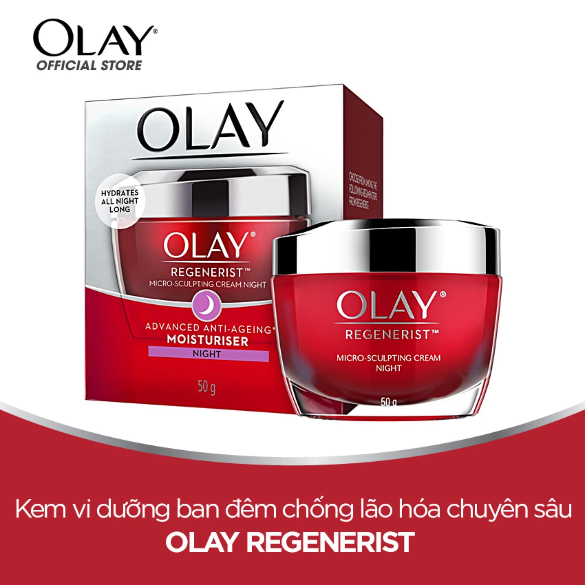 Kem dưỡng ẩm ban đêm chống lão hóa Olay Regenerist Micro Sculpting Cream Night 50g nhập khẩu