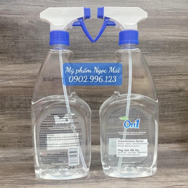 Combo 2 chai nước rửa tay khô On1 hương thơm BamBoo Charcoal xịt sát khuẩn vật dụng toàn bộ bề mặt 99,9% chai 650ml