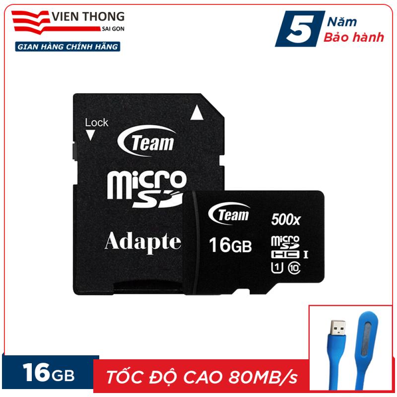 Thẻ nhớ 16GB micro SDHC Team 500x upto 80MB/s class 10 kèm Adapter (Đen) tặng đèn LED cổng USB - Hãng phân phối chính thức