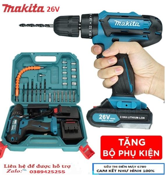Máy khoan pin Makita 26v - Máy khoan búa 2 Pin + Bộ phụ kiện 25 chi tiết