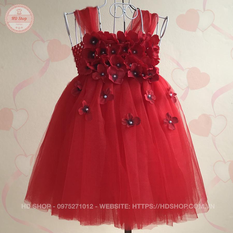 Giá bán Đầm công chúa đỏ hoa tú cầu 07