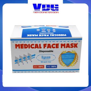 Khẩu trang y tế 4 lớp Hynam - Giấy lọc kháng khuẩn - Hiệu suất lọc (BFE) 99% - (50 cái hộp) Màu xanh thumbnail
