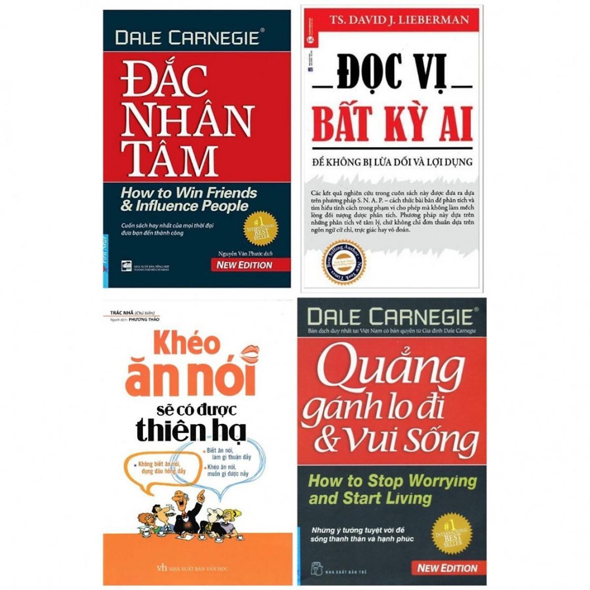 Combo 4 cuốn đắc nhân tâm, đọc vị bất kì ai, quẳng gánh lo đi và vui sống, khéo ăn nói có được thiên hạ