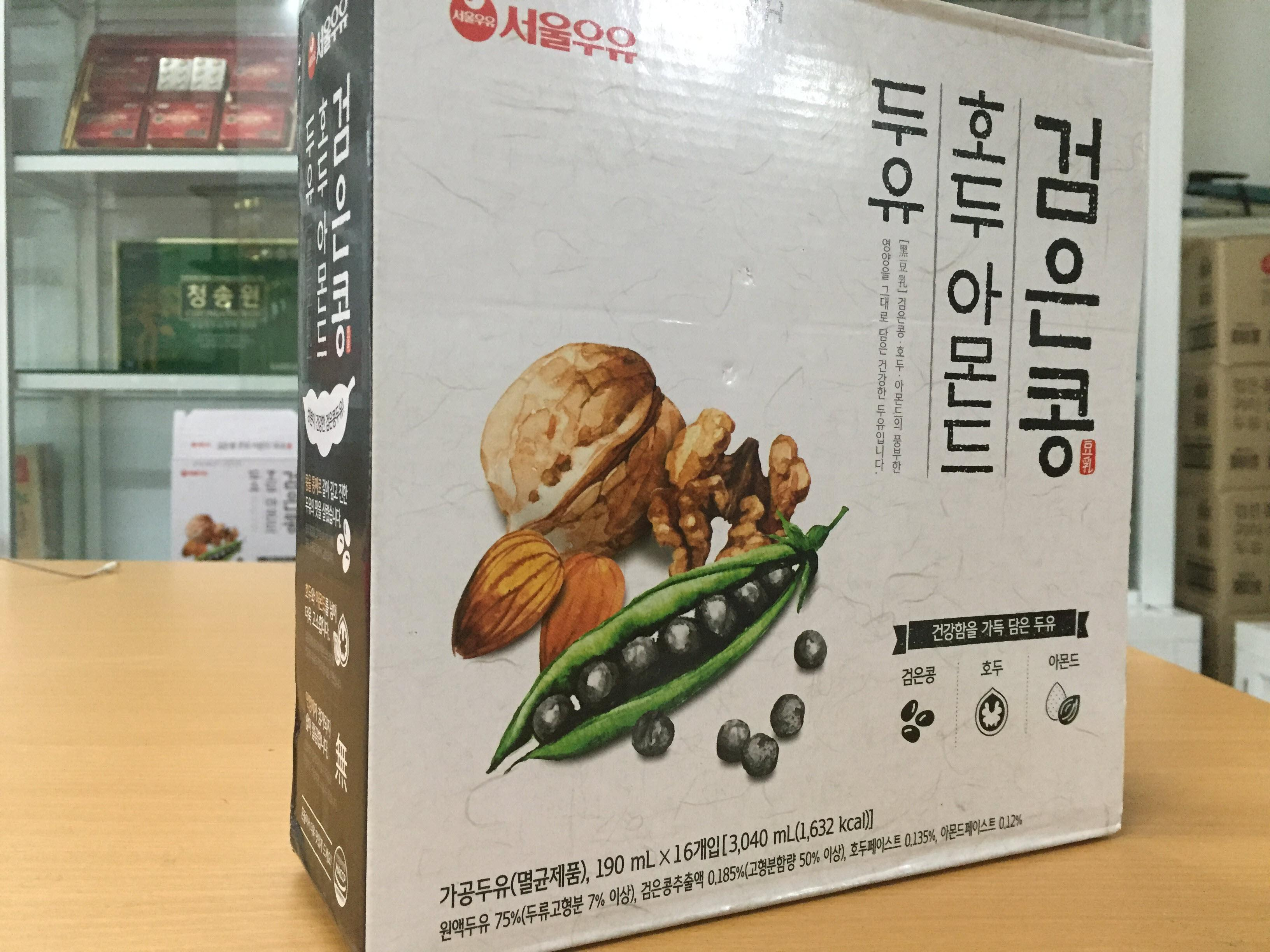 [Seoul Milk] - Sữa Hạt Óc Chó Hạnh Nhân 190ml (xách 16 hộp) - Sữa Hạt số 1 Hàn Quốc