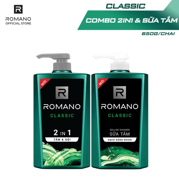Combo Tắm gội 2in1 & Sữa tắm Romano Classic cổ điển lịch lãm 650gr*2