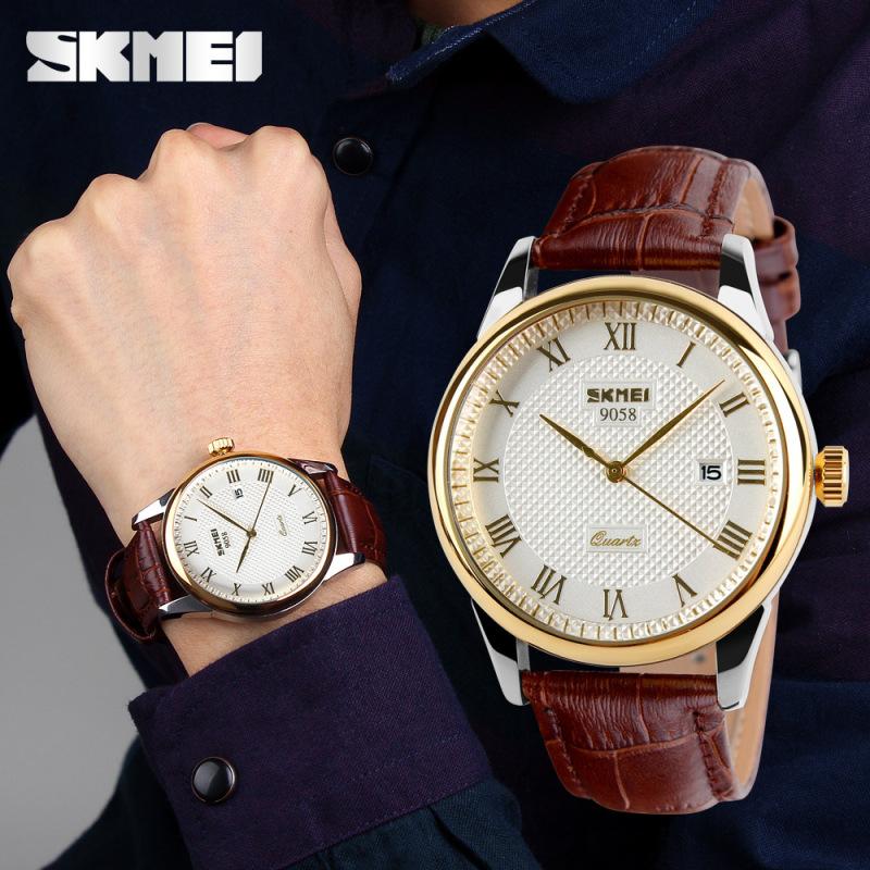 Đồng hồ nam dây da cao cấp SKMEI 9058 chống nước chống xước chính hãng -Shop Ngọc Huyền