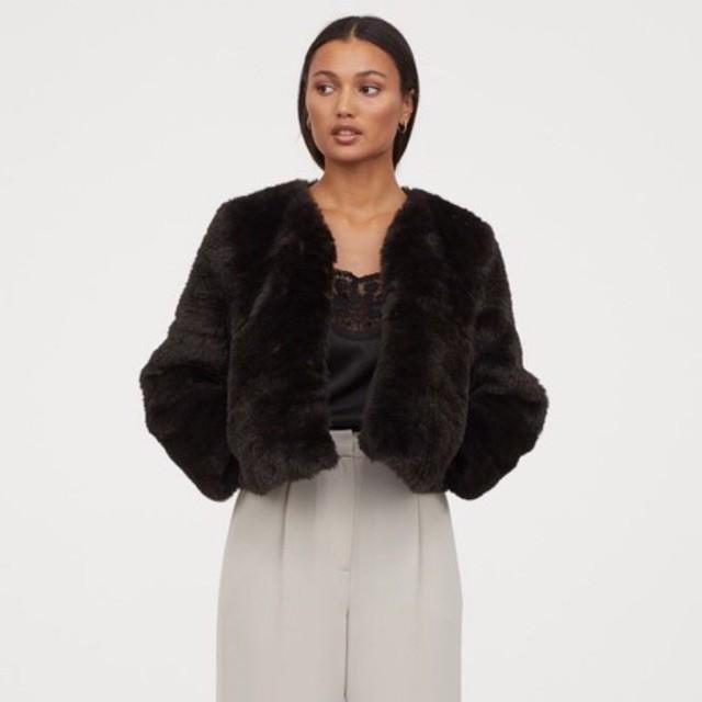H&M Đức - Áo lông sale auth new tag cao cấp chính hãng nâu đen có nút cài dáng lửng