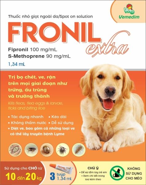 Phòng trị ve, rận, bọ chét cho chó Fronil Extra (3tube/hộp), Vemedim