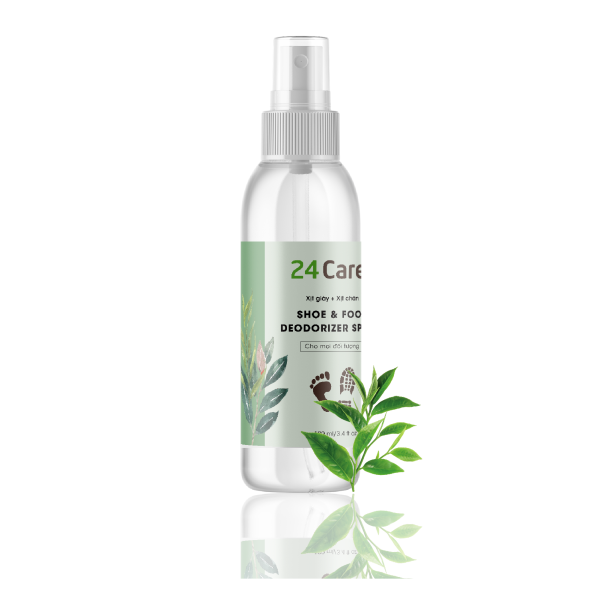 Xịt khử mùi Giày tinh dầu 24Care 100ML - sạch khuẩn, chiết xuất từ tinh dầu thiên nhiên, khử mùi hôi hiệu quả.