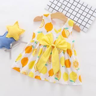 Đầm Bé Gái KTtrade 0-3 Tuổi Đầm Không Tay Thiết Kế Họa Tiết Chanh Cổ Tròn 100% Cotton Trang Phục Bé Gái Dễ Thương