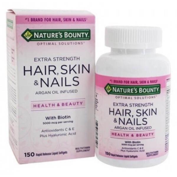 Viên uống bổ sung làn da, khỏe móng, chống rụng tóc, Hair Skin Nails Nature Bounty. 150 viên nang mềm
