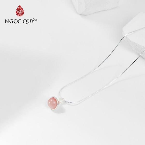 Mặt dây chuyền 1 hạt đá thạch anh hồng 8mm mệnh hỏa,thổ tặng dây chuyền - Ngọc Quý Gemstones