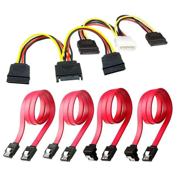 Giá SSD / SATA III Hard Drive Connection Cables (1x 4 Pin to Dual 15 Pin SATA Power Splitter Cable, 1x 15 Pin to Dual 15 Pin SATA Power Splitter Cable, 4x SATA Data Cables), 6 Pack