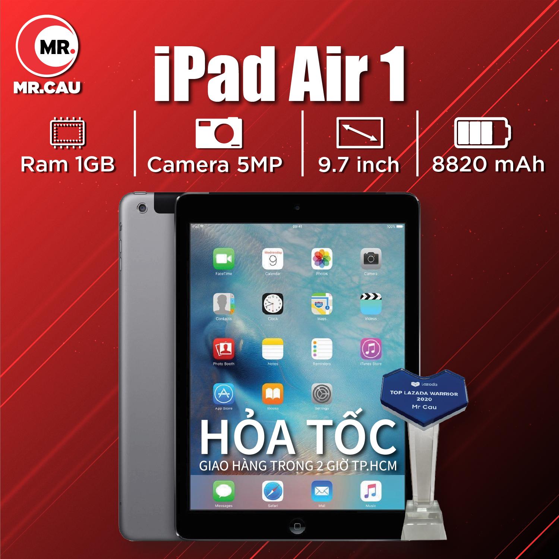 Máy tính bảng Apple IPAD AIR 1 - 16GB/32GB (  bản WIFI ) RAM 1 GB CAMERA 5 MP PIN 8600mAH -MÀN HÌNH 9.7 inch  HỌC ZOOM GOOGLE MEET GIẢI TRÍ TỐT MRCAU