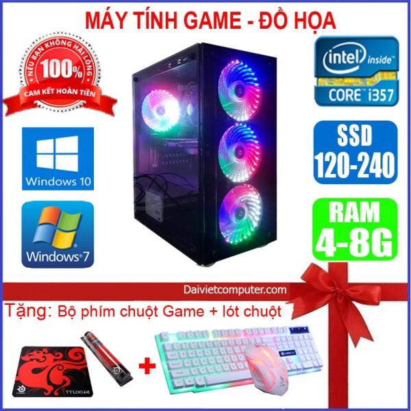 Bảng giá Case máy tính Game Led CPU Core i7/ i5/ i3 Ram 8GB/ SSD 120GB Chơi PUBG,LOL, CF đột kích, Fifa3, Đế chế - Quà Tặng Khủng Phong Vũ