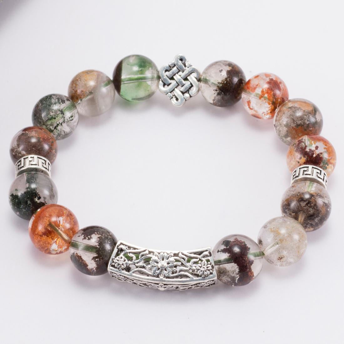 Vòng tay đá Thạch Anh Ưu Linh Đa Sắc Phối Kết Đồng Tâm Bạc 12mm - Ngọc Quý Gemstones