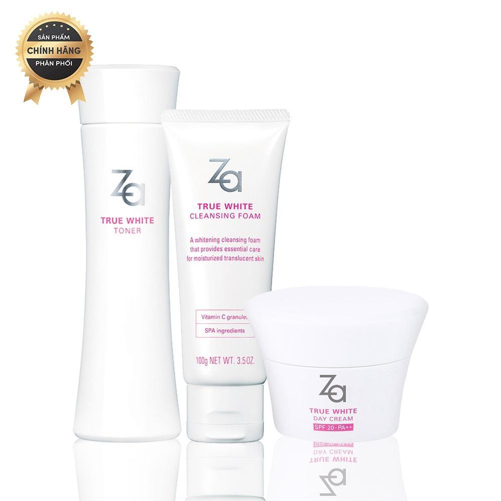 Trọn bộ sản phẩm dưỡng trắng ẩm mịn giảm thâm sạm ban ngày Za True White (Cleansing Foam 100g + Toner 150ml + Day Cream 40g)