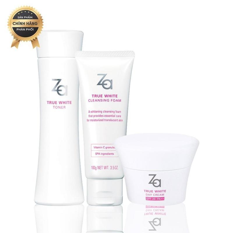 Trọn bộ sản phẩm dưỡng trắng ẩm mịn giảm thâm sạm ban ngày Za True White (Cleansing Foam 100g + Toner 150ml + Day Cream 40g) nhập khẩu