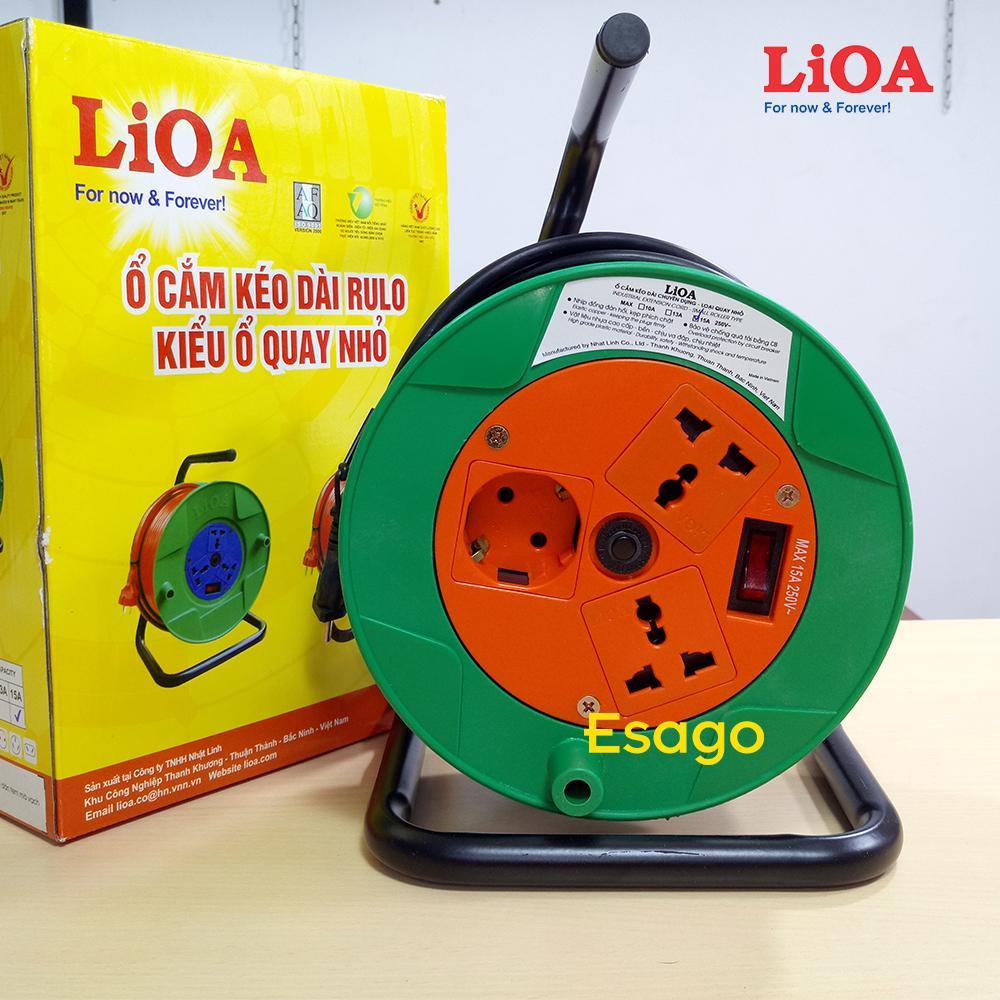 Ổ cắm kéo dài LiOA quay tay kiểu Rulo 15A dây dài 20 mét - QN20-2-15A