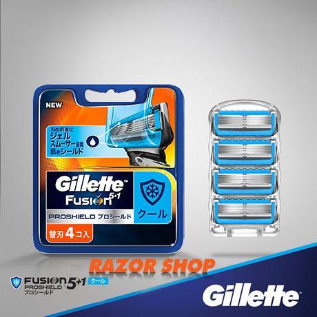 Lưỡi dao thay thế Gillette Fusion 5 + 1 Proshield Chill Nhật Bản, vỉ 4 lưỡi