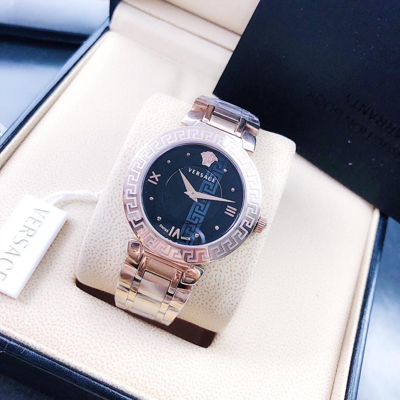 Đồng Hồ Thời Trang Nữ Versacee_Daphnis Rose Gold Tone Black Dial - Dây Thép Không Gỉ - Size 34 mm - FULLBOX bán chạy