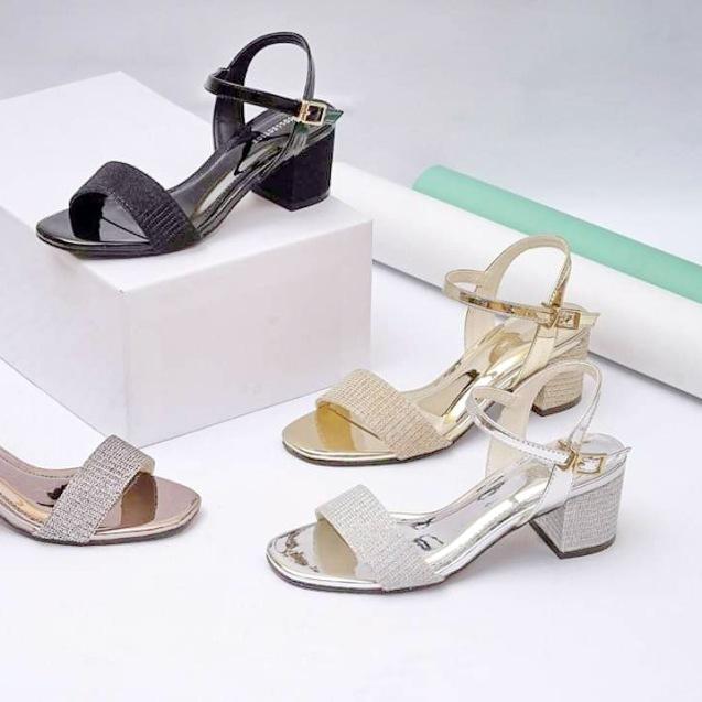 Giày sandal 5 phân quai ngang kim tuyến giá rẻ