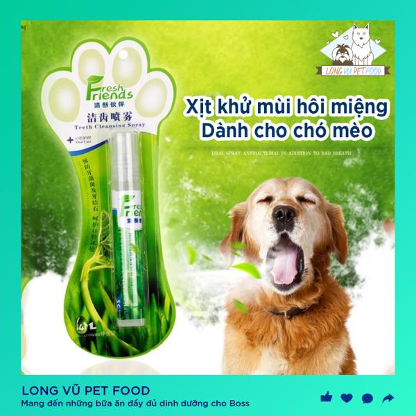 Xịt chống hôi miệng chó mèo Fresh Friends chai 14ml - Xịt vệ sinh khử mùi hôi răng miệng cho chó mèo - Long Vũ Pet Food
