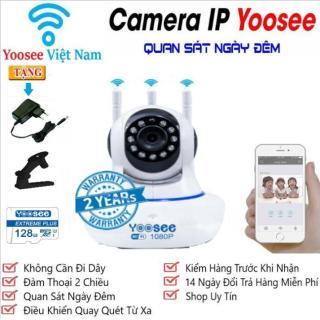 (TẶNG THẺ YOOSEE 128GB TRỊ GIÁ 450K, BH 5 NĂM)Camera WiFi KHÔNG DÂY YooSee 3 râu, Camera Trong nhà, ngoài trời SIÊU SẮC NÉT FULL HD 1.0 Mpx 1920 X 1080P,GHI ÂM, GHI HÌNH , ĐÀM THOẠI 2 CHIỀU, LƯU TRỮ TỐI ĐA 128GB 1