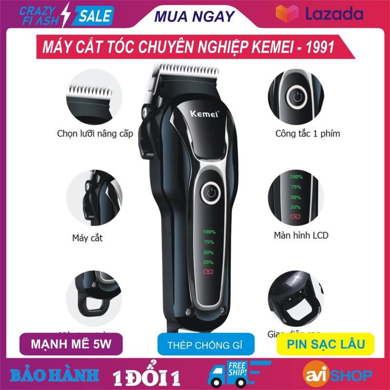 Máy cắt tóc Kemei-KM1991, Tông đơ cắt  tóc chuyên nghiệp, công suất cao, chất, Hàng chất thép không gỉ, pin sạc lâu, đầu cắt chuẩn, tặng thêm giới hạn lược, Giá SHOCk - aviSHOP giá rẻ