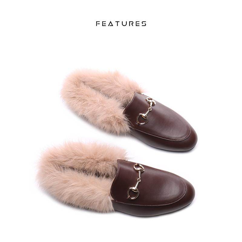 8d56d59b7da9 Features Furry Slipper New Style Autumn And Winter women Shoes Outer Wear  Semi-Slipper Rabbit