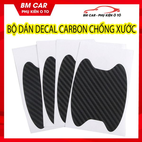 Bộ 4 Decal Carbon dán chống xước hõm tay mở cửa xe ô tô, xe hơi