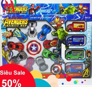 COMBO 13 Chiếc xe hoạt hình Avengers cho bé, trò chơi trẻ em dành cho bé, xe ô tô trò chơi, bộ đồ chơi trẻ em an toàn cho em, an tâm cho mẹ thumbnail