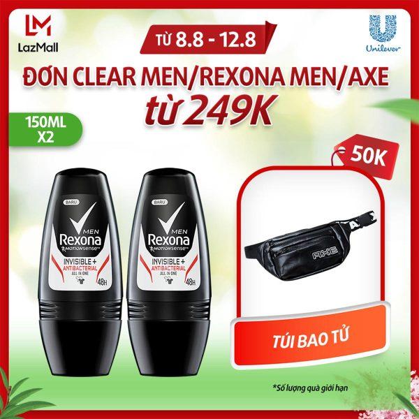 Combo 2 chai lăn khử mùi nam Rexona Men Invisible Antibacterial 48h khô thoáng nhập khẩu