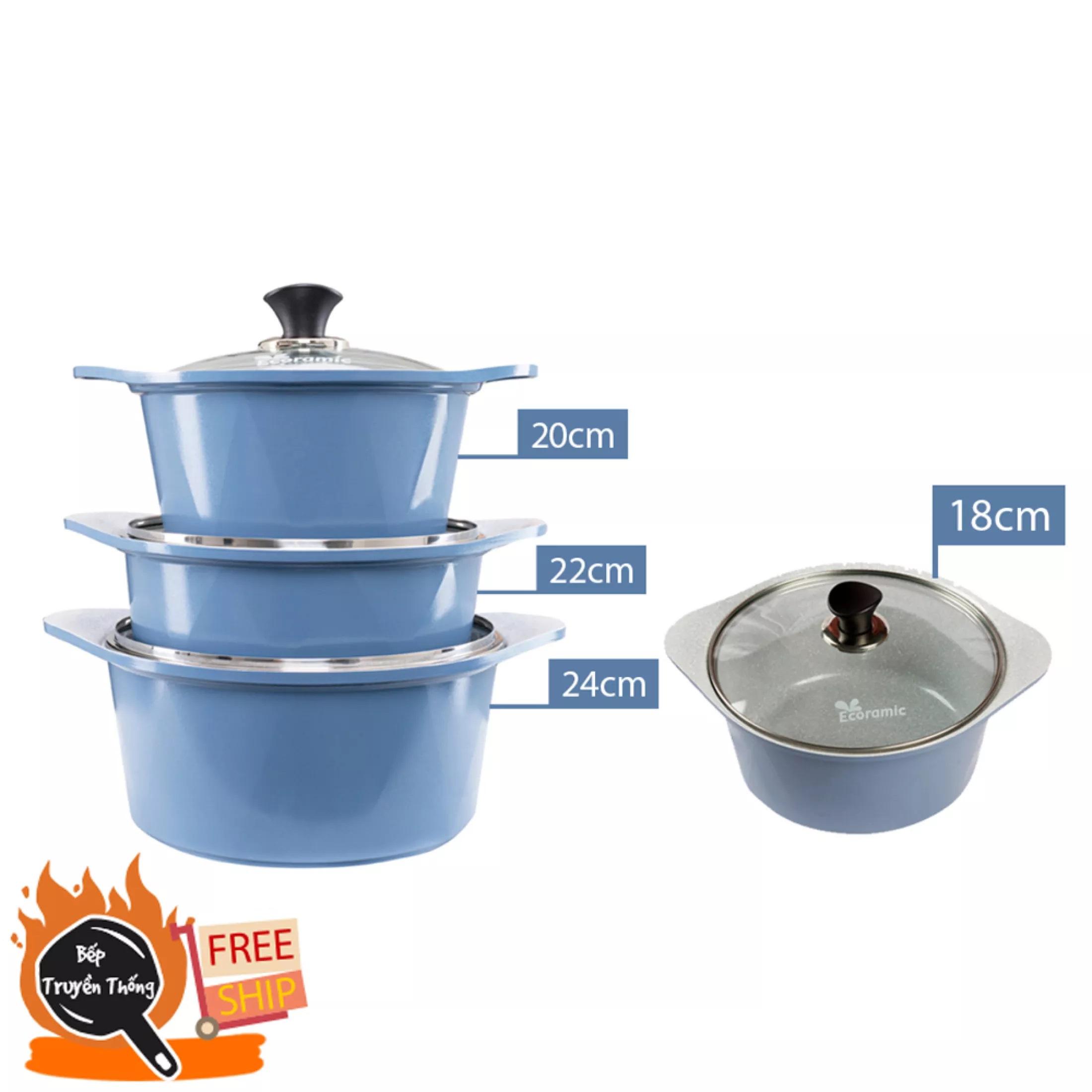[Chính Hãng] Seoulcook (E) Bộ 4 nồi đúc ceramic cao cấp 2 tay cầm 18-20-22-24cm tặng 1 cặp nhấc nồi sillicon (dùng được bếp gas, hồng ngoại, lò nướng, ... không nấu được bếp từ)