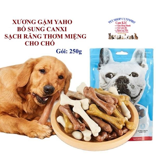 XƯƠNG GẶM CHO CHÓ THÚ CƯNG Yaho Dog Treats Hình cục xương Gói 250g Bổ sung canxi Sạch răng Thơm miệng Loại bỏ mảng bám