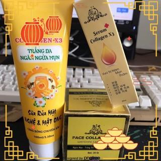 Bộ 3 dưỡng da và phục hồi da collagen x3 gồm 1 hủ kem face, 1 sữa rửa mặt, 1 serum thumbnail