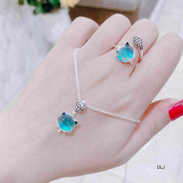 Bộ trang sức bạc dây chuyền và nhẫn hồ ly MS150