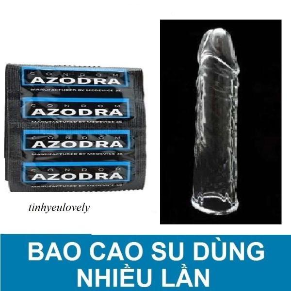 Bao cao su tổng hợp gân gai kéo dài thời gian AZODRA(1 cái ).Tặng 1 bao cao su đôn trơn trắng sử dụng nhiều lần